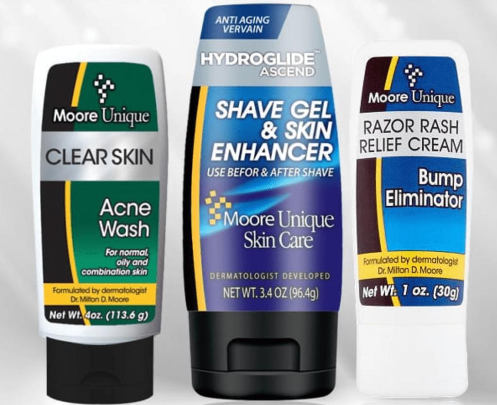 Clear Skin Acne Wash, Hydroglide Ascend Shave Gel, and Razor Rash Relief Cream